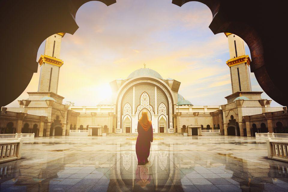 A woman in a mosque in Malaysia during Ramadan
