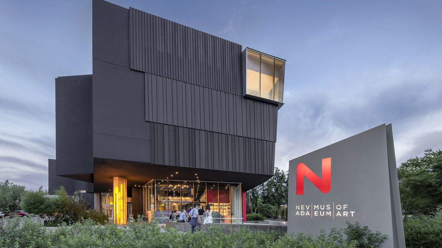 Exteriror of the dark gray Nevada Museum of Art building