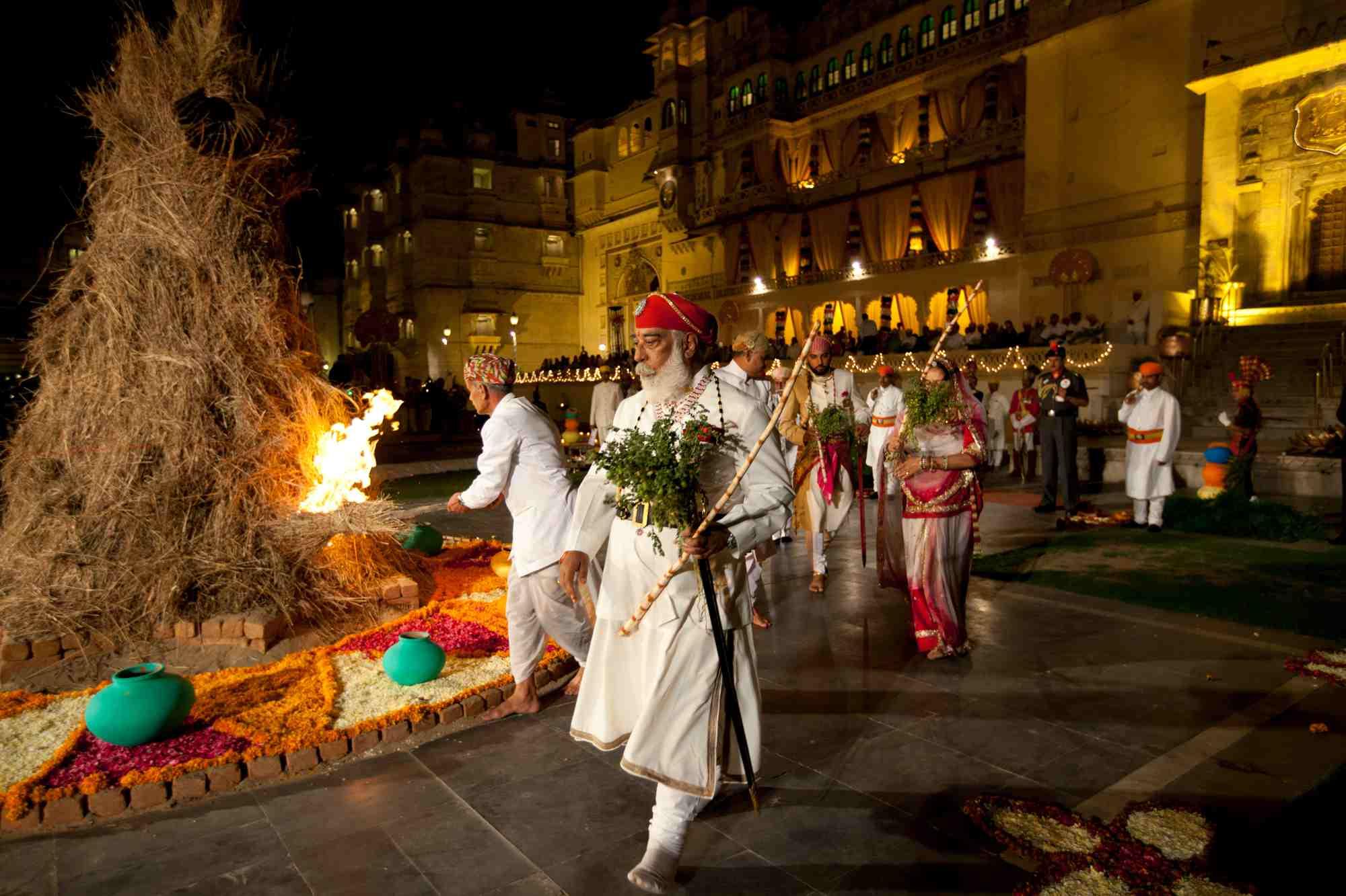 Maharana en la ceremonia de Holi, Palacio de la ciudad, Rajasthan , Holi