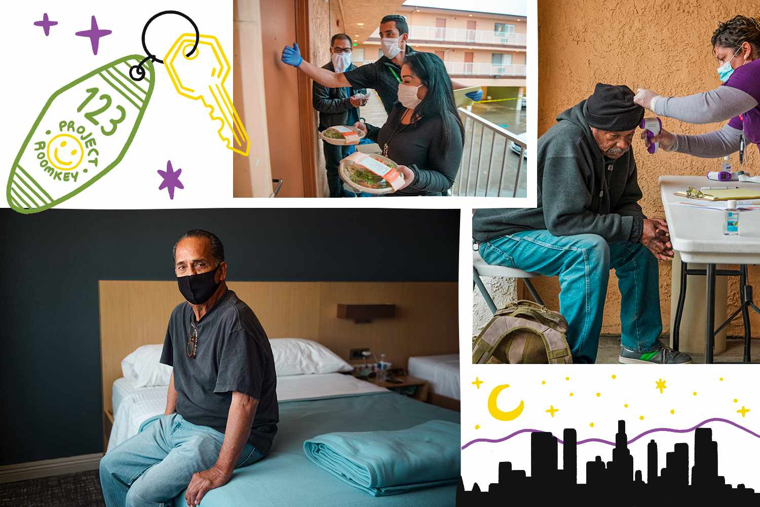 Collage of photos and illustrations of Project Roomkey