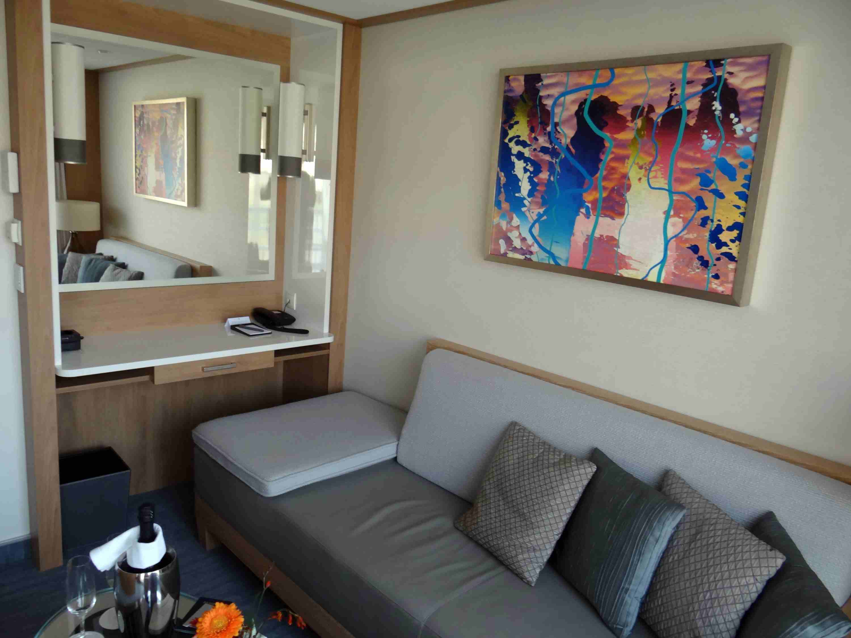 Desk and sofa in Veranda Suite on Viking Elbe river cruise ships