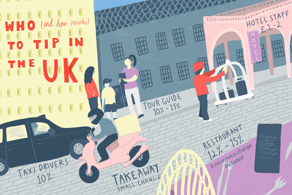 An illo depicting who to tip in the UK