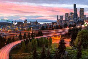 Panorama, Skyline, Sunset, Seattle, Washington, America