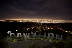 The backside of the Hollywood sign at night, Hollywood Hills, California