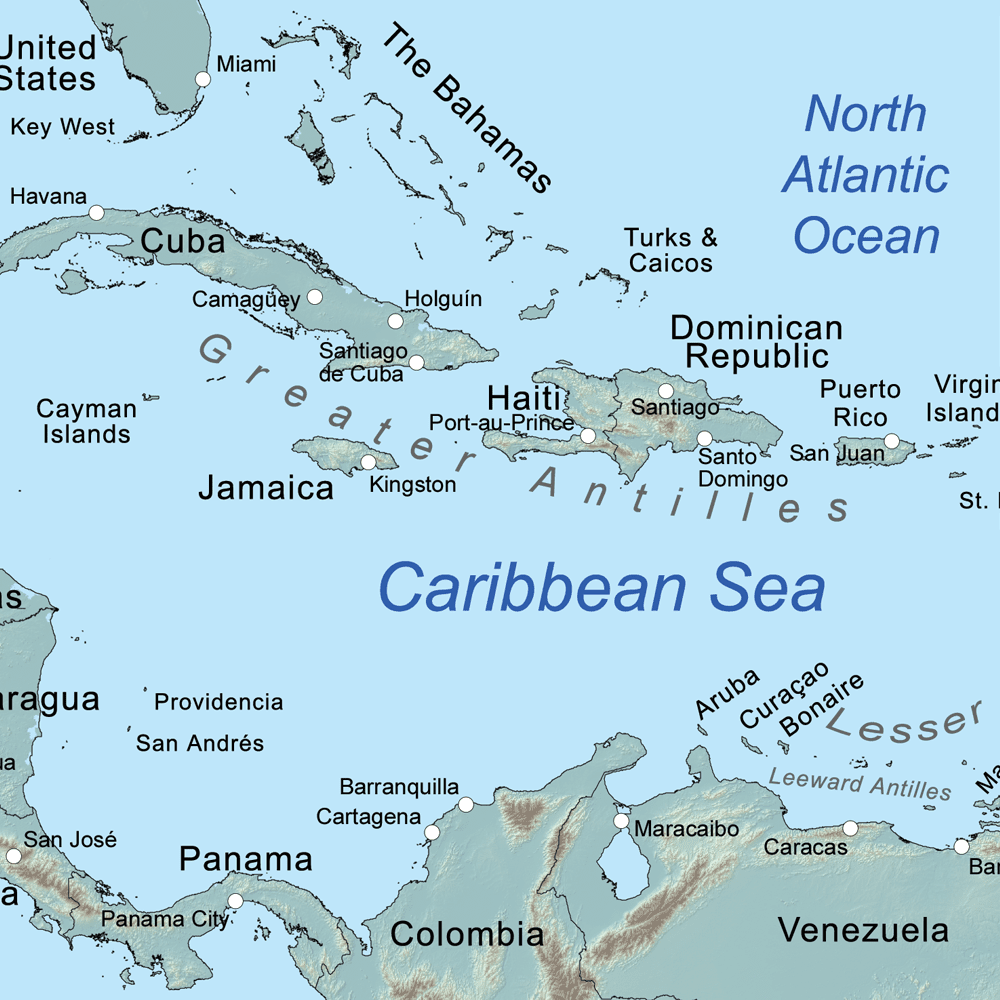 Map Of The Caribbean Sea Comprehensive Map of the Caribbean Sea and Islands