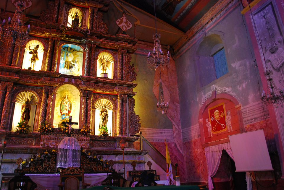 Interior of Baclayon Church, Bohol, Philippines