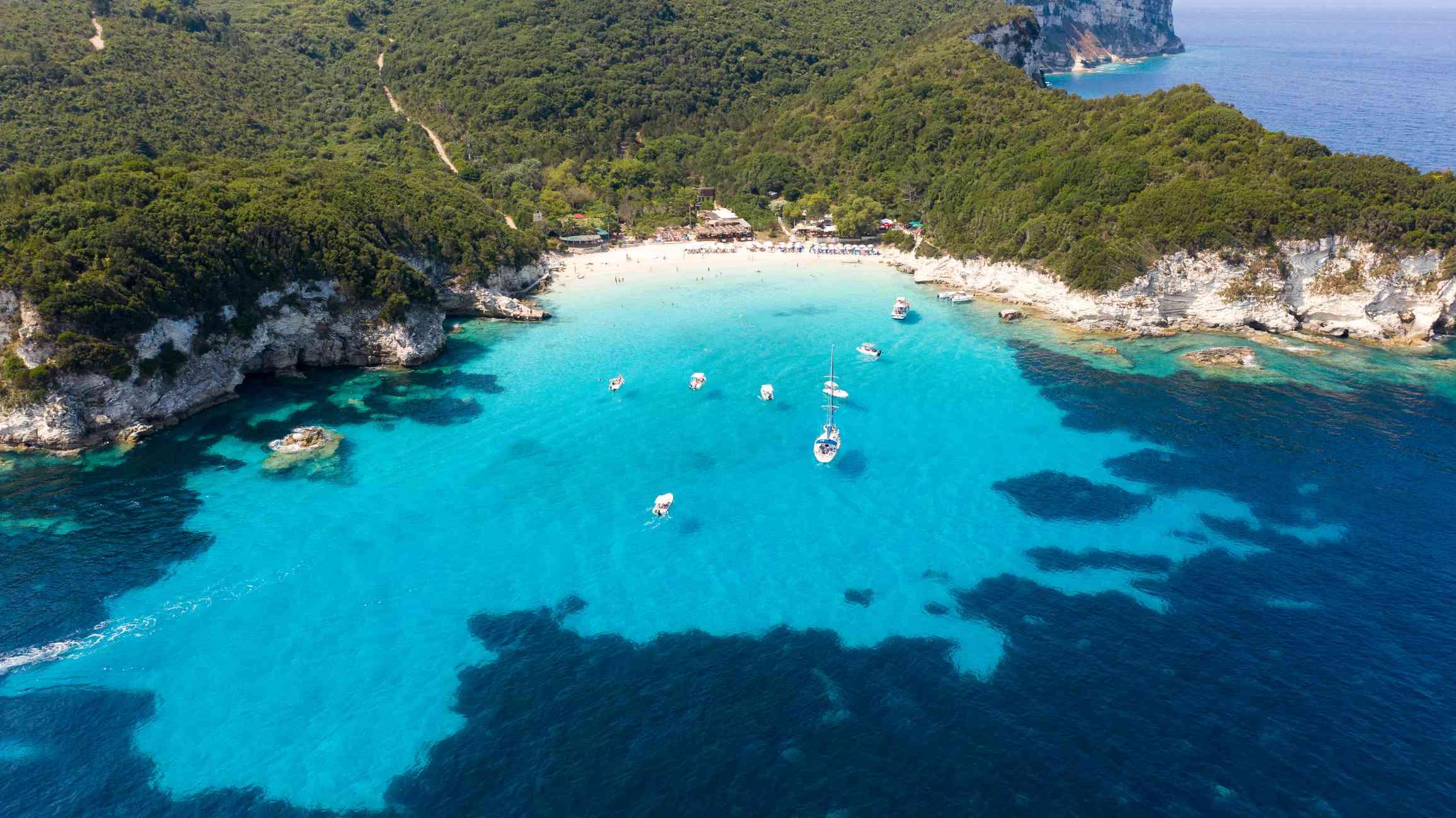 Aerial shot of yachts at Voutoumi beach at Antipaxos