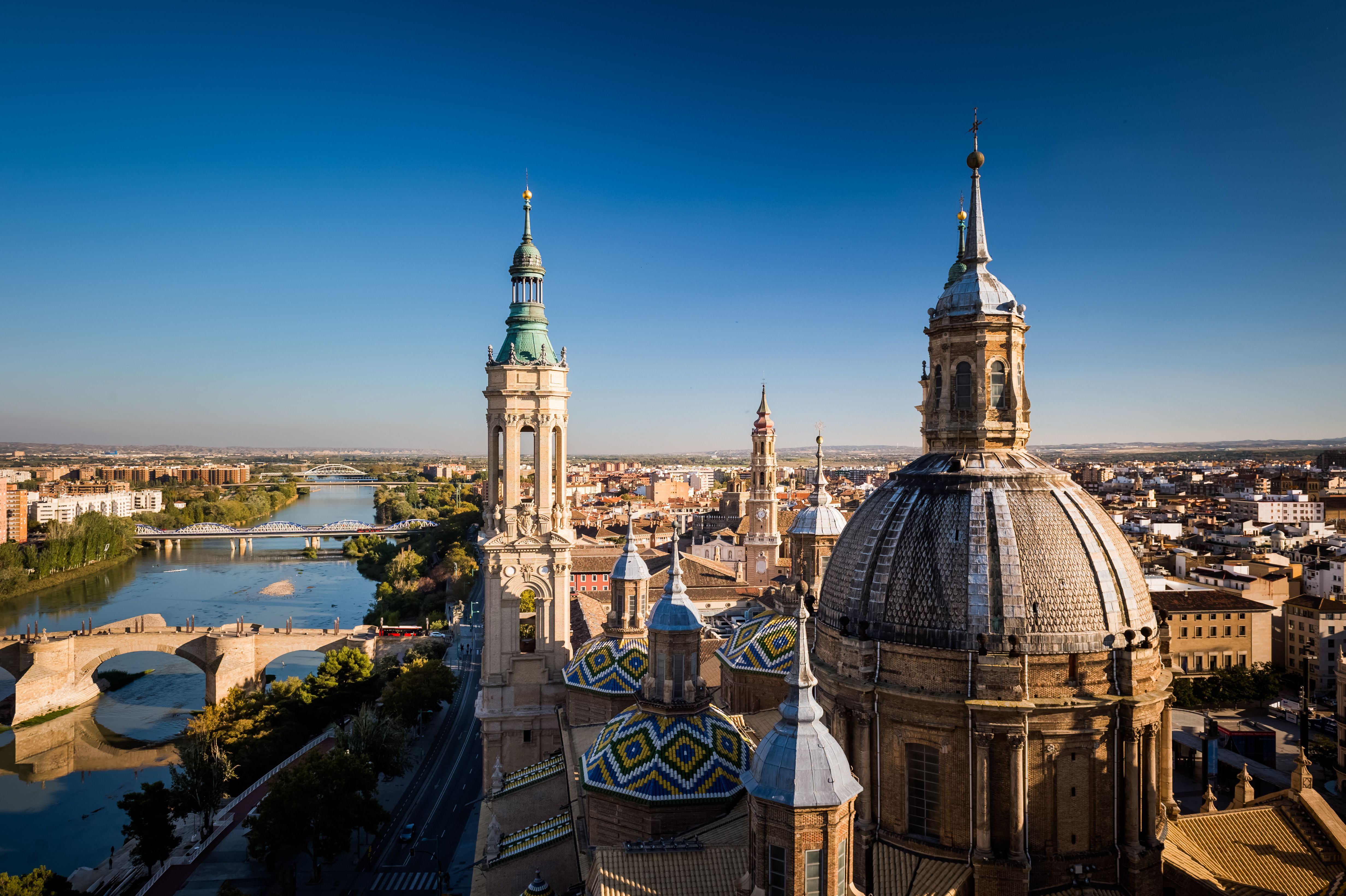 Overlooking view of the Cathedral-Basilica of Our Lady of the Pillar in Zaragoza, Aragon, Spain