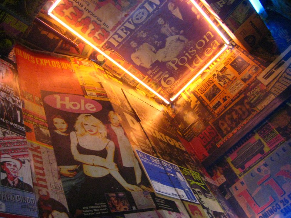 Pop memorabilia on the walls of La Vía Láctea