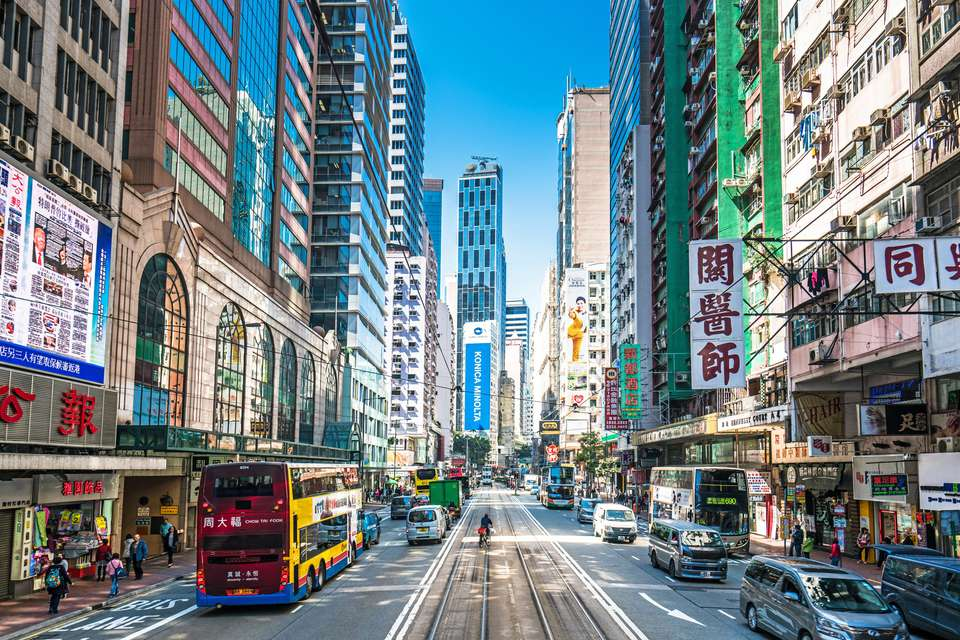 View of an urban street in Wanchai, Hong Kong