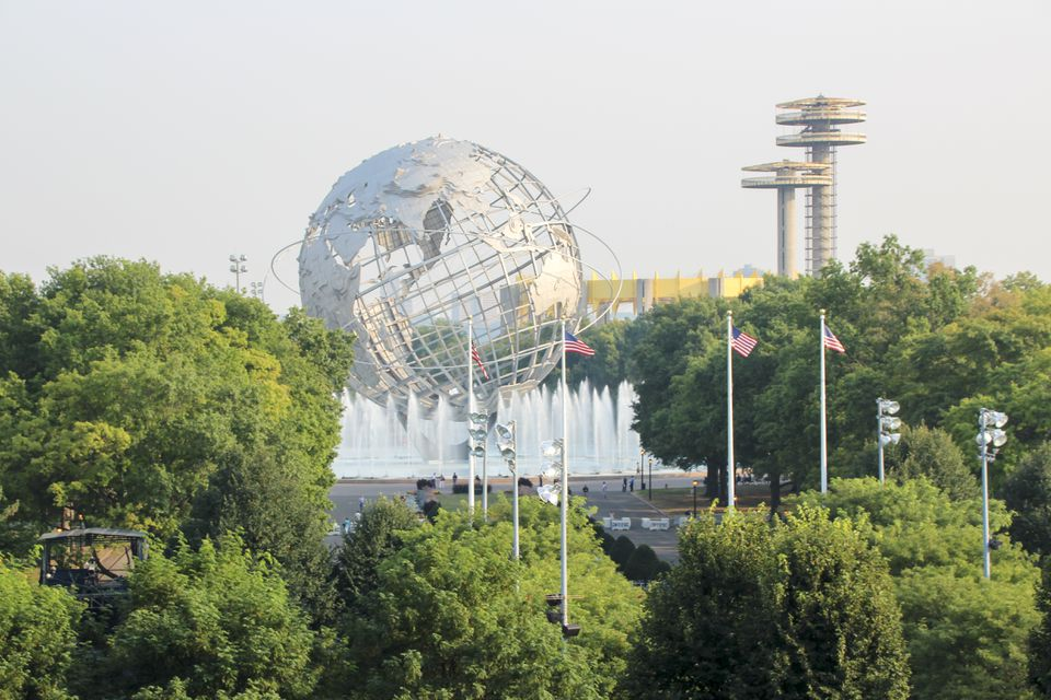 View over the Unisphere globe at Corona Park, Flushing Meadows, Queens, NYC