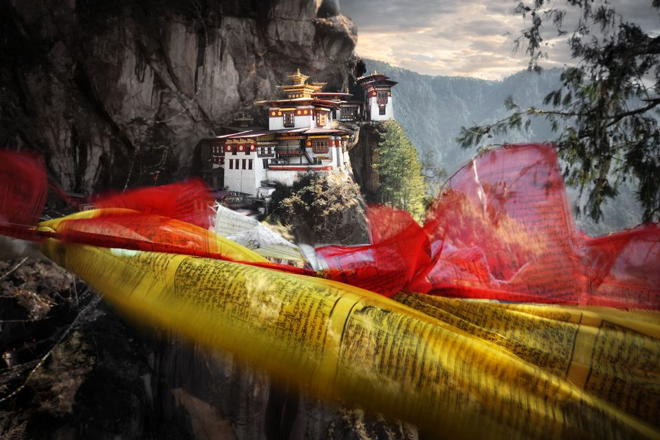 Meters high up in Himalayan Mountains sits Tigers Nest Monastery.
