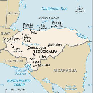 Caribbean Cruise Map of Honduras