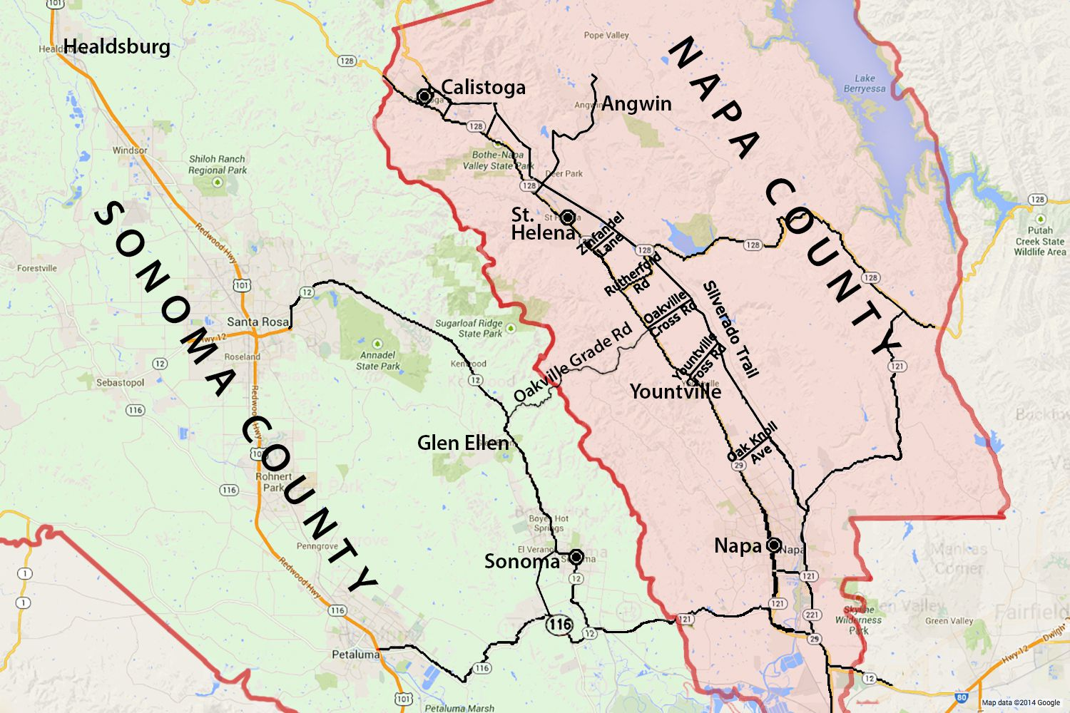 Wine Country Map: Sonoma and Napa Valley