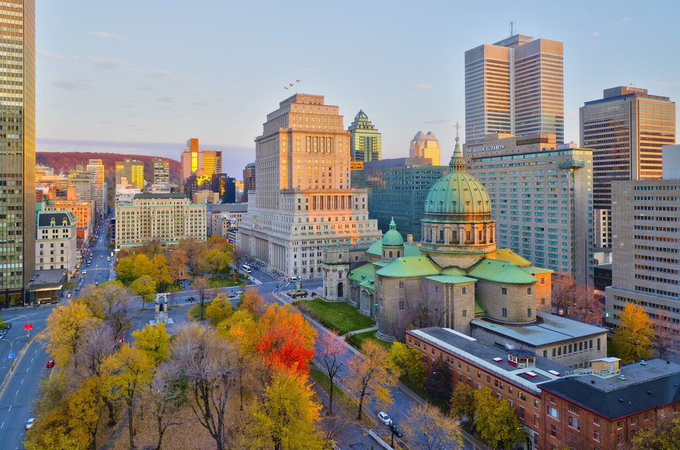 Canada, Quebec, Montreal, Place du Canada and Dorchester Square, Cathedral-Basilica of Mary,