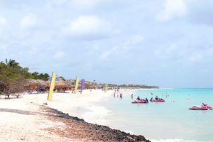 Panorama from eagle beach on Aruba island in the Caribbean