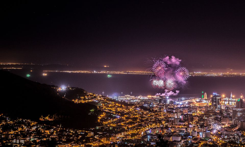 Aerial shot of fireworks over Cape Town, South Africa