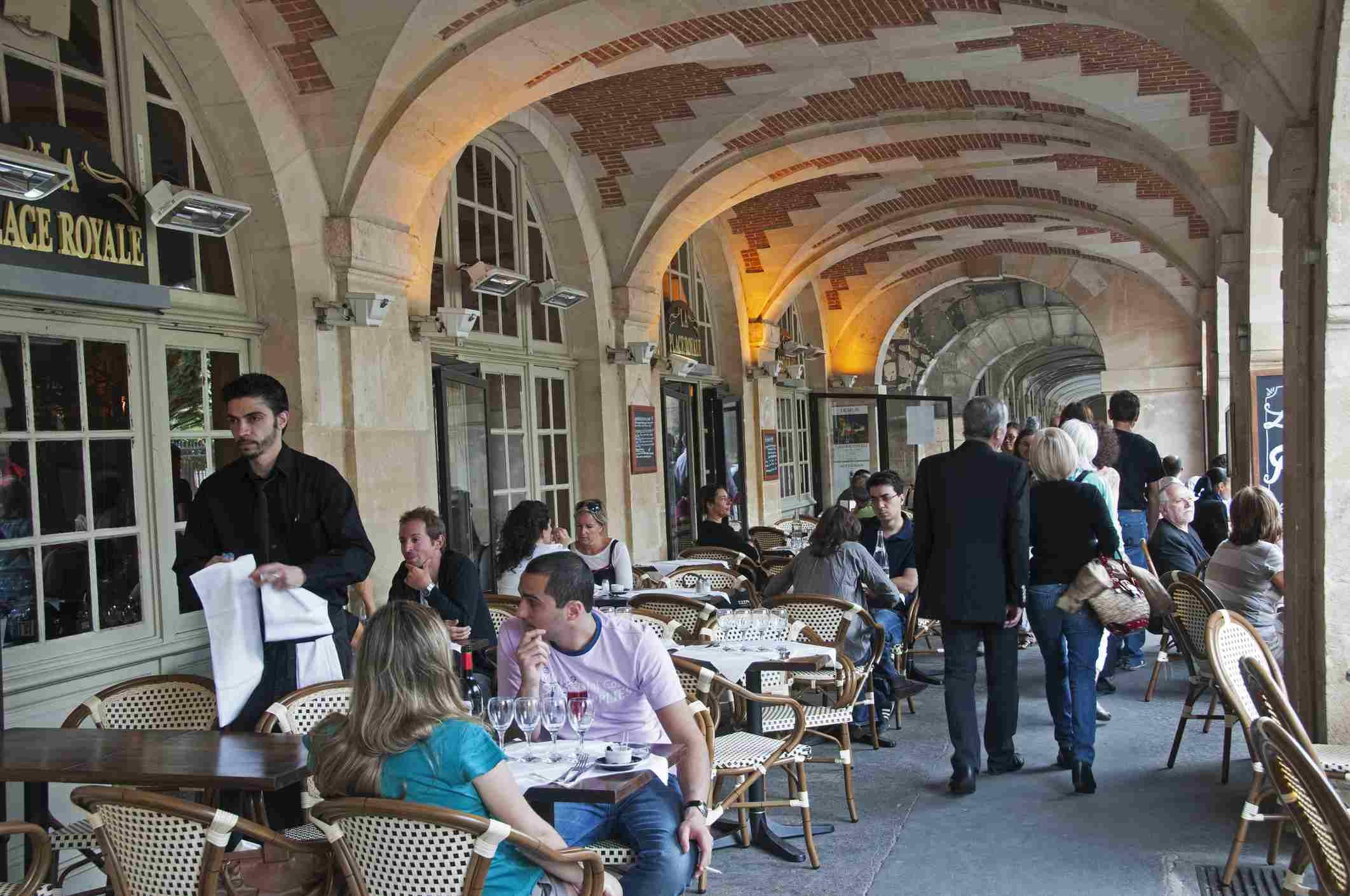 There are several restaurants and cafes nestled under the covered arcades of the Place des Vosges.