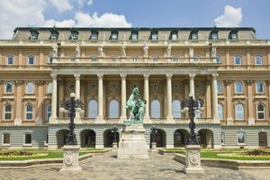 Rear entrance to the Hungarian National Gallery with equestrian statue
