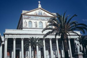 An exterior view of Basilica of Saint Paul Outside the Walls, Rome, Italy, circa 1960