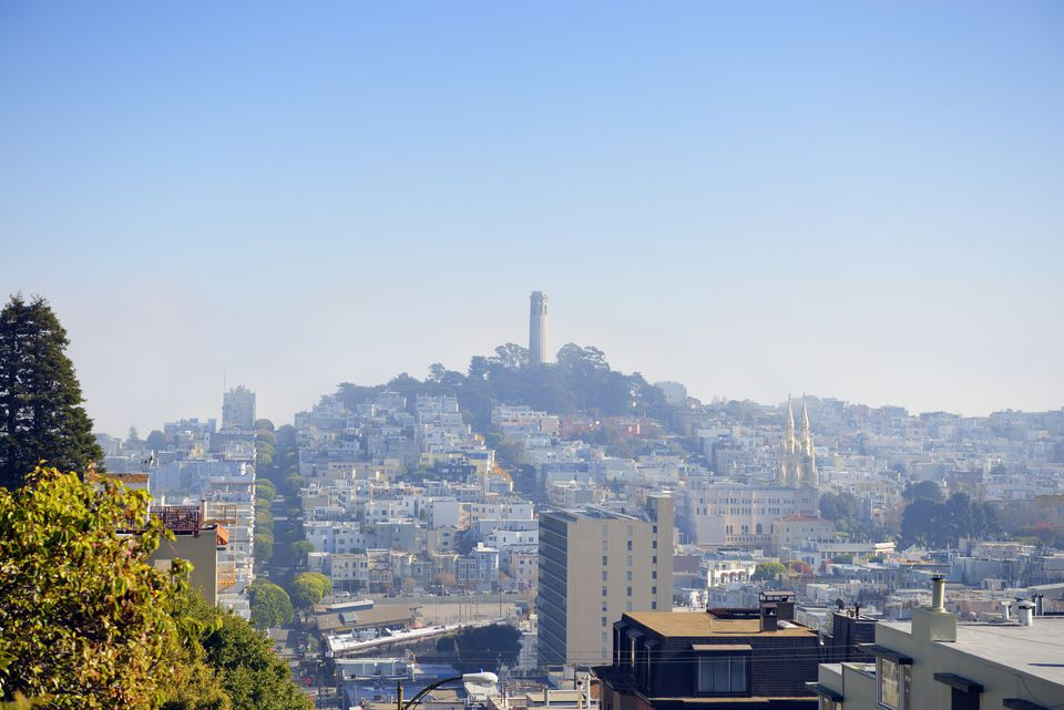 View from Lombard Street on Telegraph Hill with Coit Tower, San Francisco, California