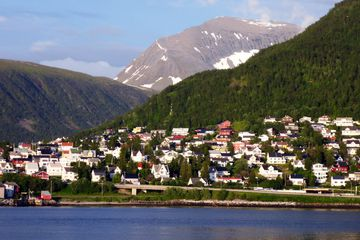 Water in front houses on top green hills and mountains in Tromsø