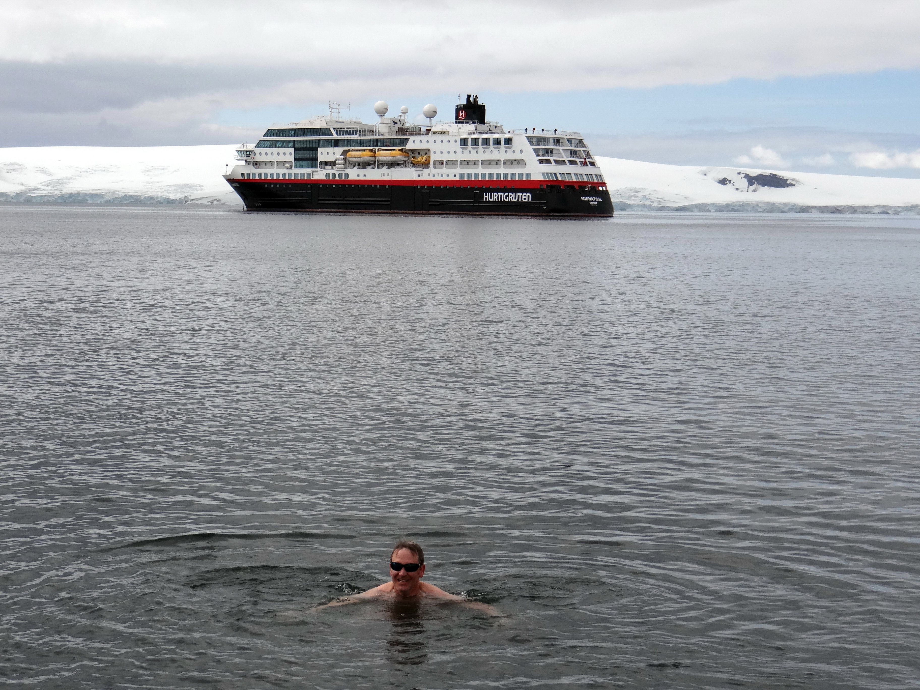 Swimming in Antarctica from the Hurtigruten Midnatsol