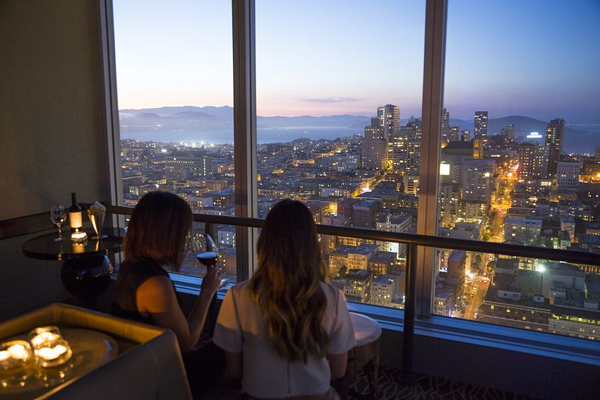 Watching the sunset from the Hilton Hotel's CityScape Lounge.