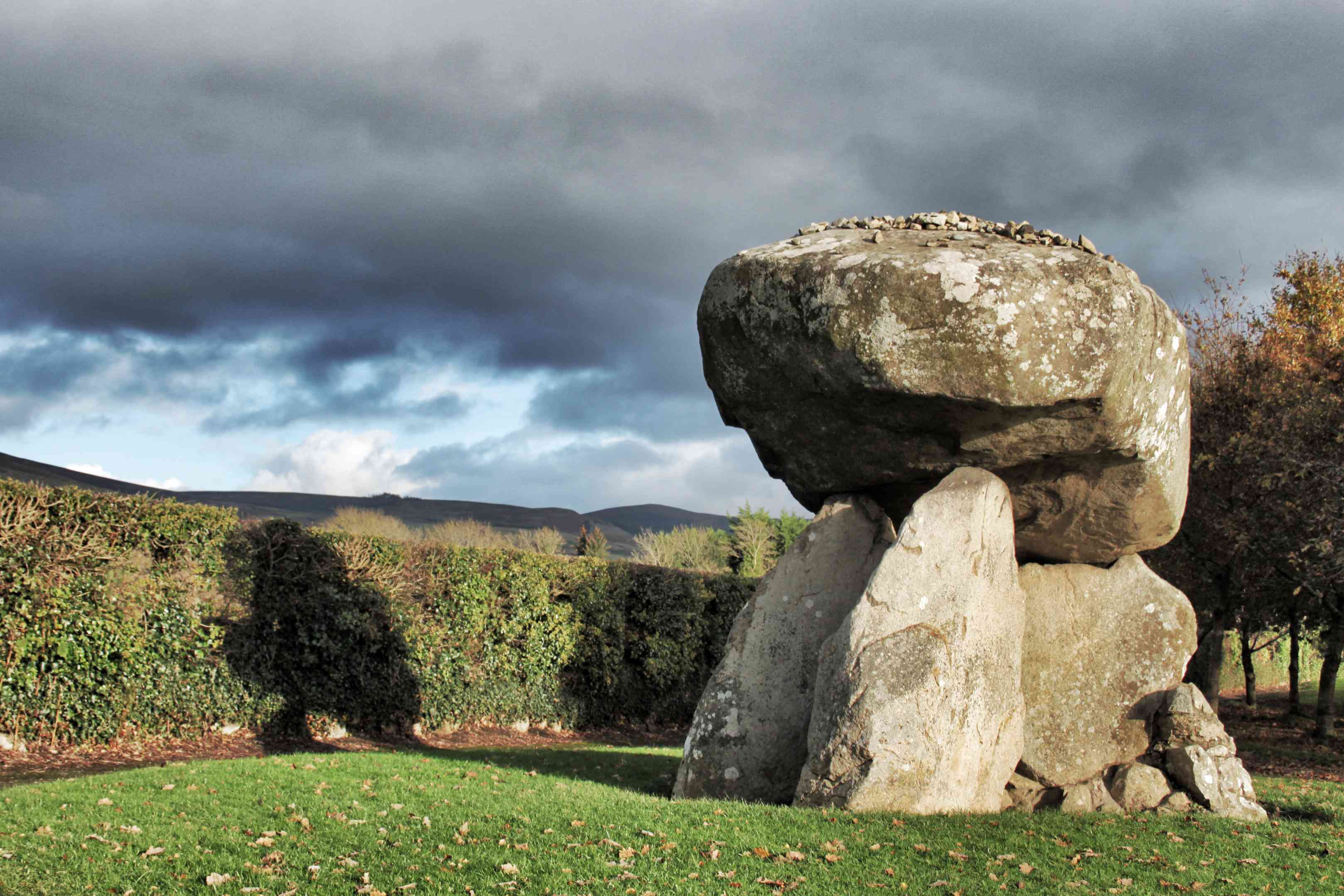 The Proleek portal tomb in Dundalk on a cloudy day