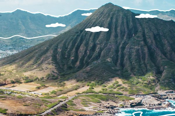 Oahu's Landscape with illustrated lines emphasizing the edges