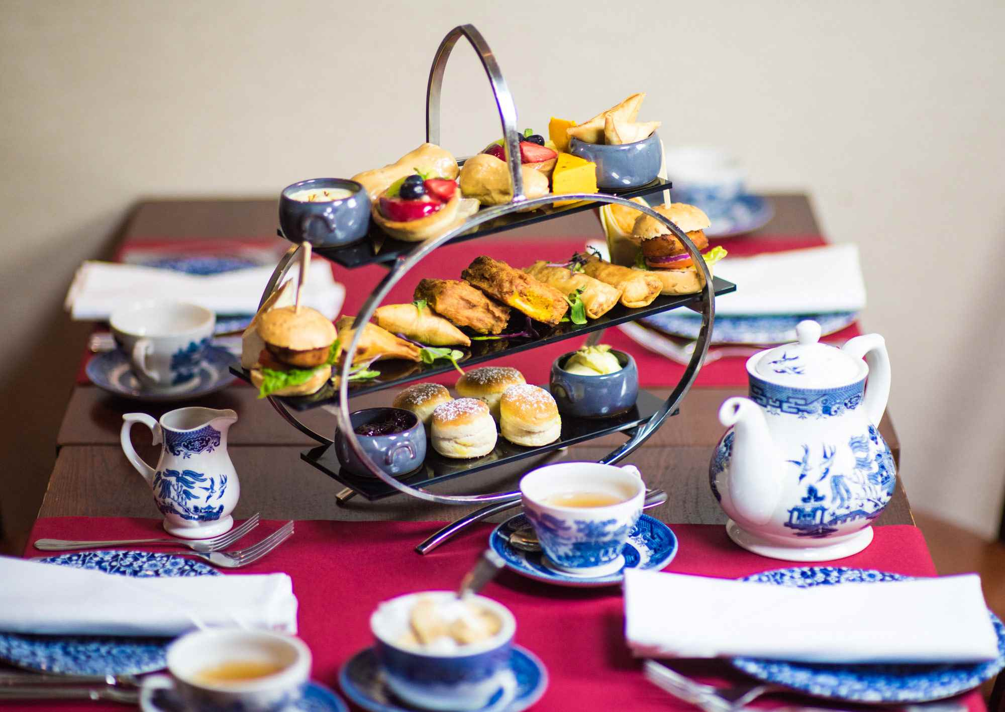 Indian afternoon tea at the Strand Palace Hotel.