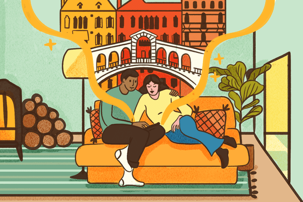Illustration of two people sitting on a couch looking at a virtual tourist attraction