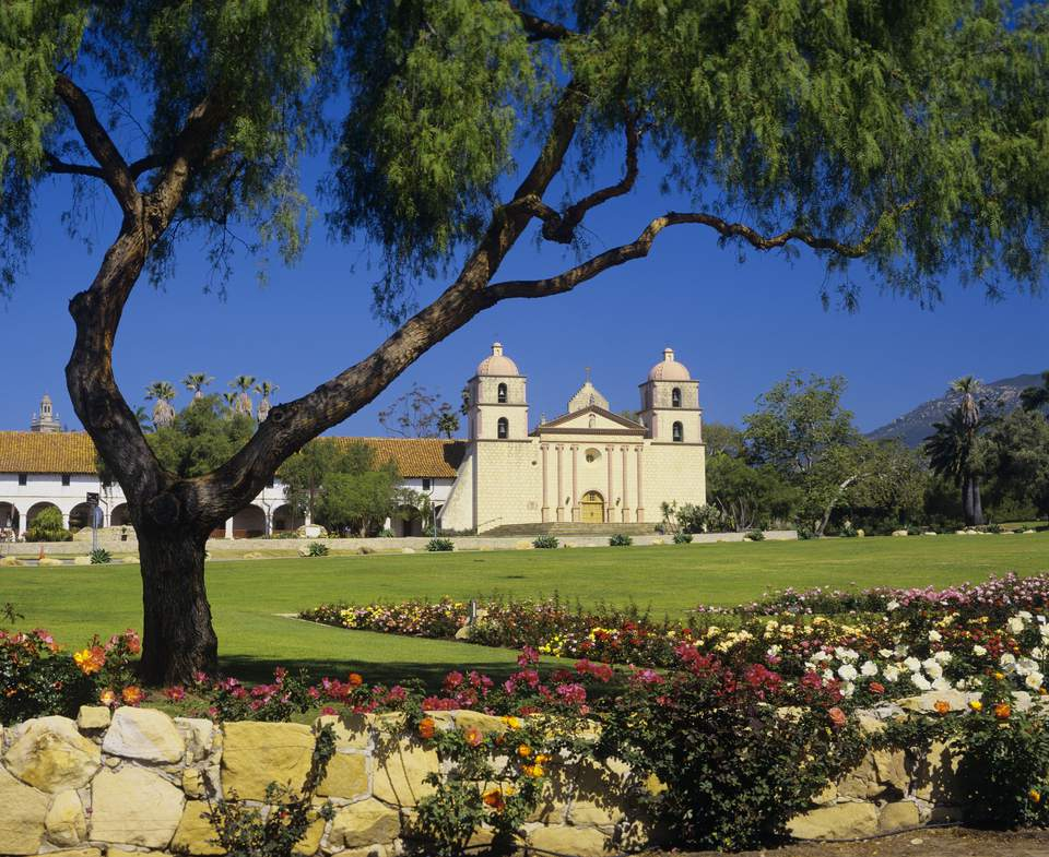 Beautiful garden at Santa Barbara Mission