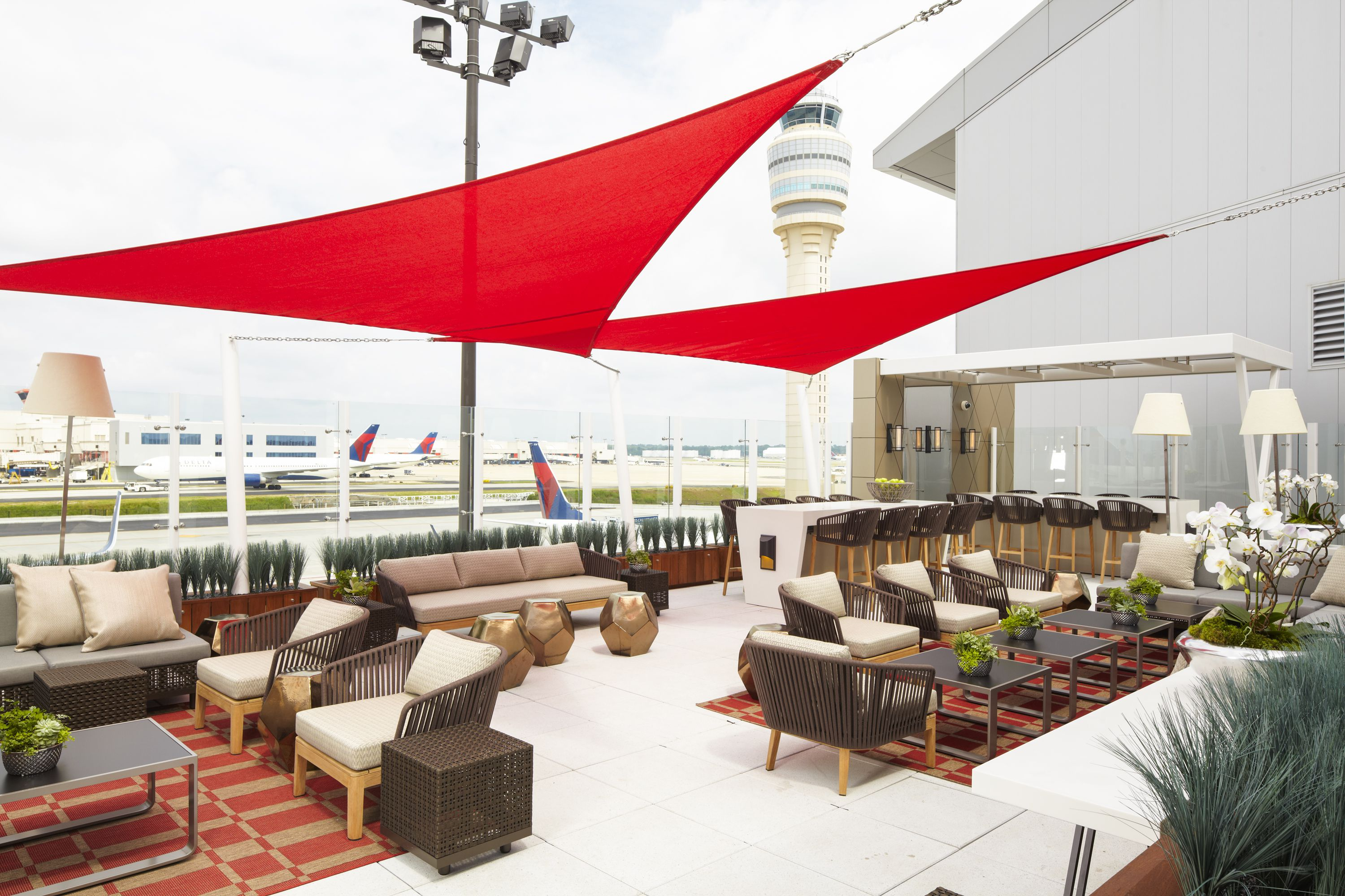 The outdoor terrace at Delta Air Lines' Sky Club in Concourse F at Hartsfield-Jackson International Airport.