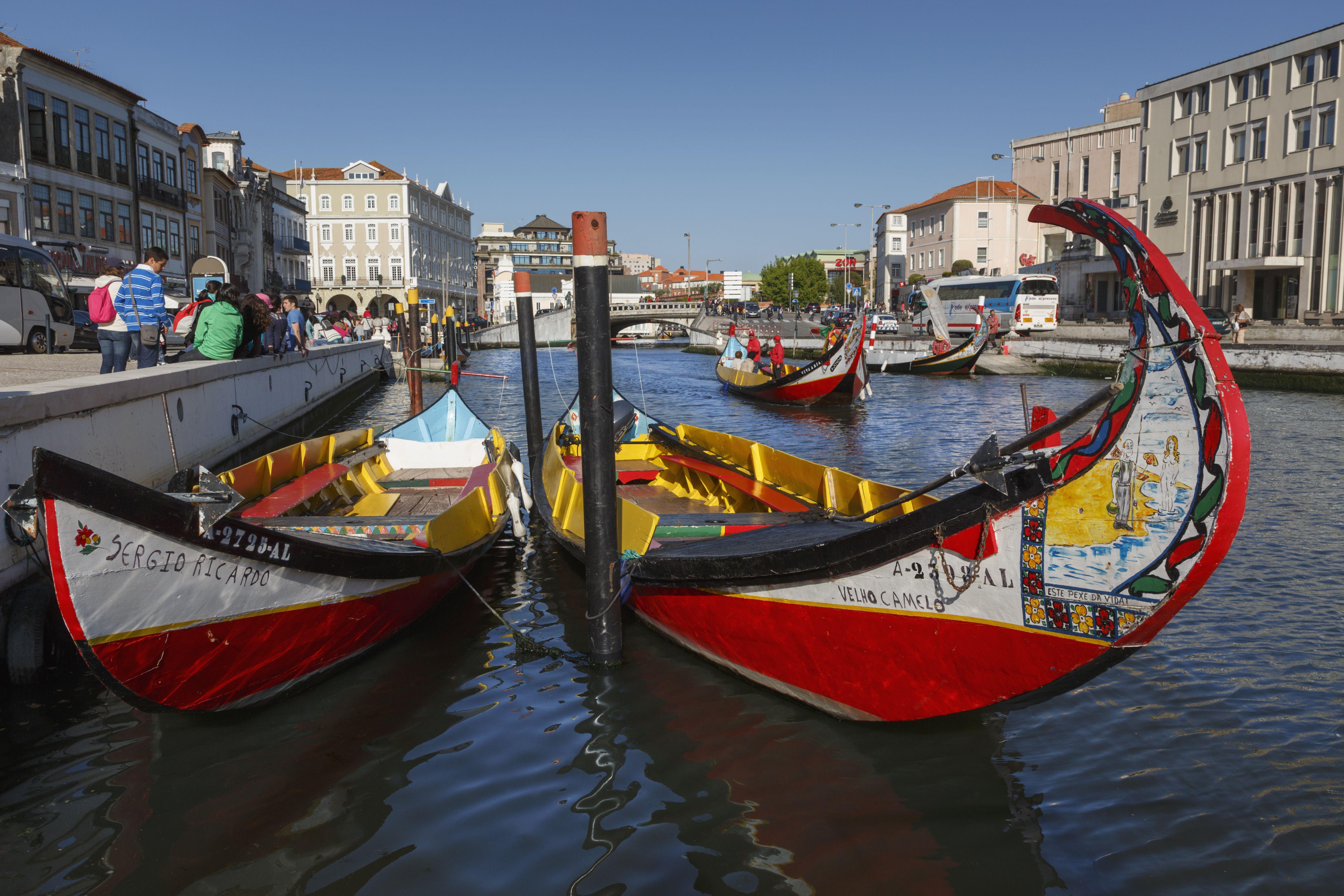 Aveiro, Portugal. Moliceiros. Traditional boats.
