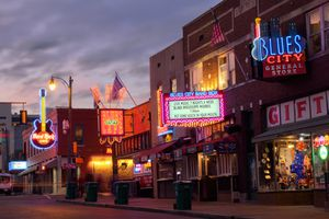 Music Bars in Beale Street at Sunset in Memphis, Tennessee
