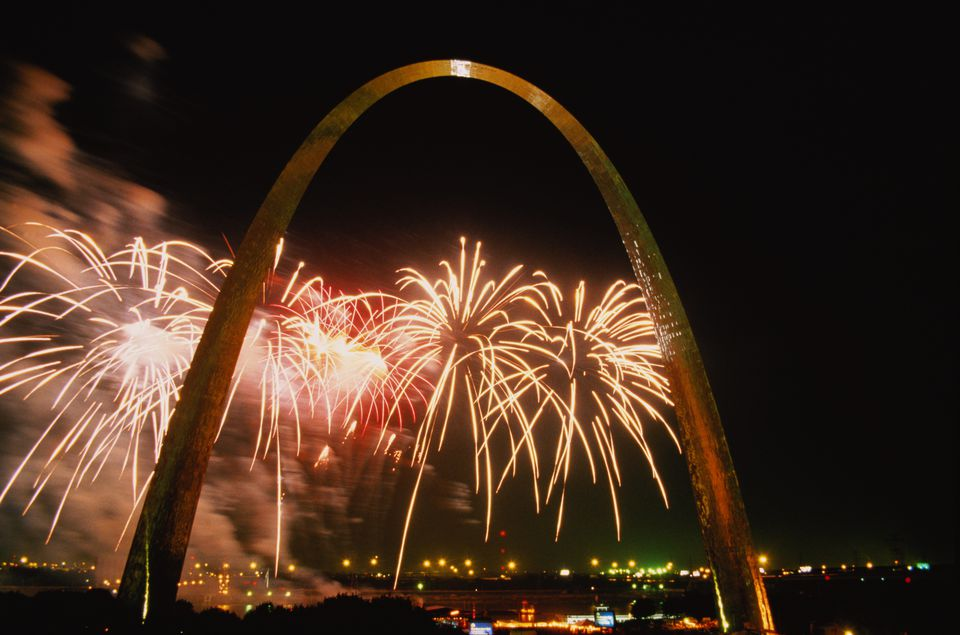St Louis Arch and fireworks