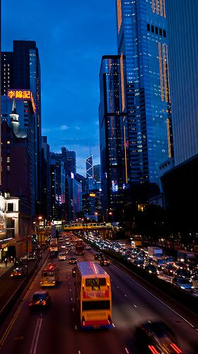 View of Wan Chai by night