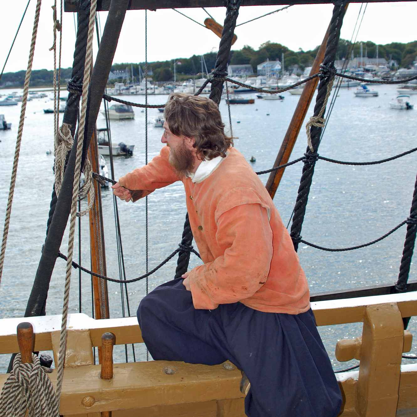 Pilgrim Role Player Aboard the Mayflower II in Plymouth MA