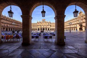 Plaza Mayor, the main public square in Salamanca, Spain.