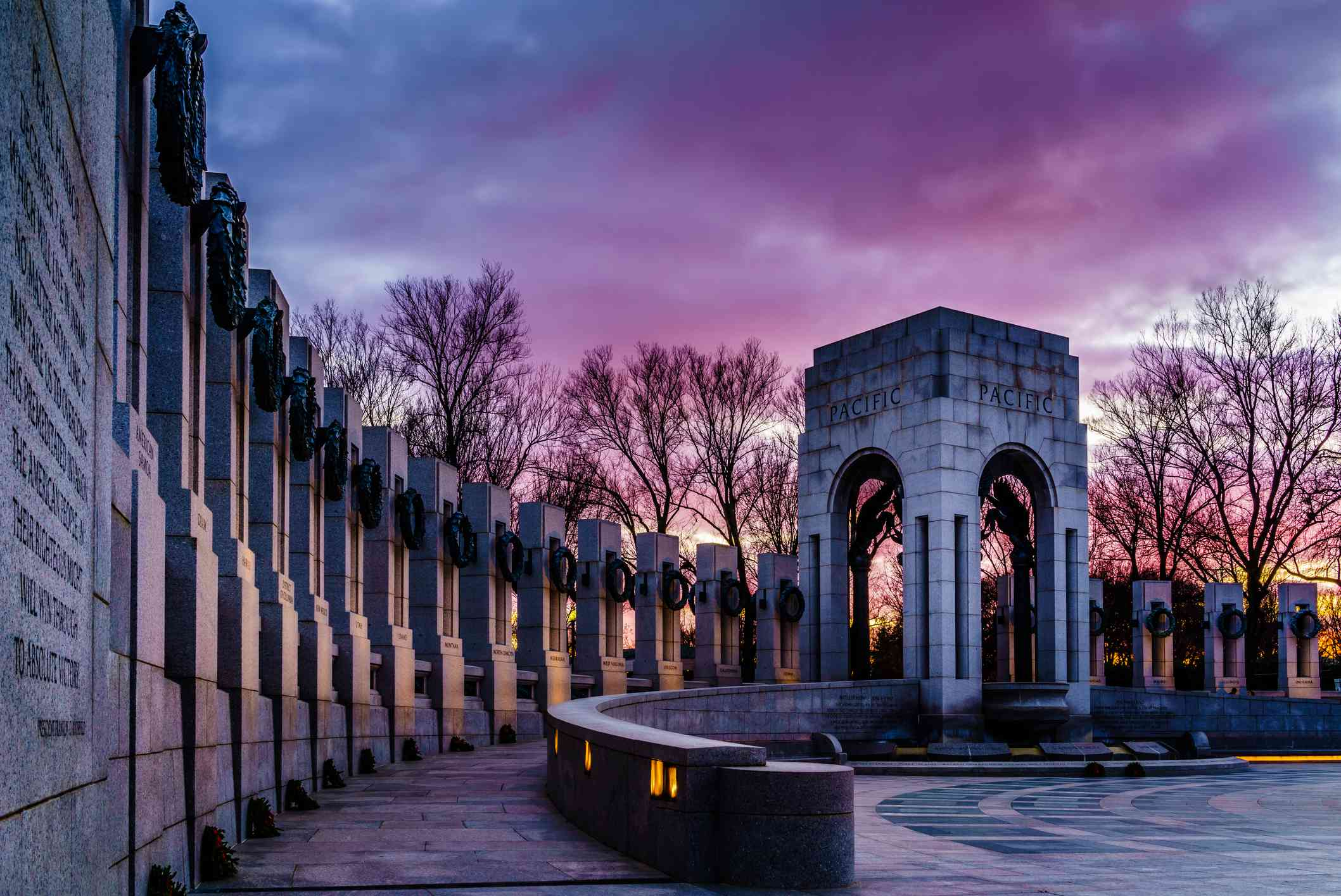 WWII Memorial at Twilight