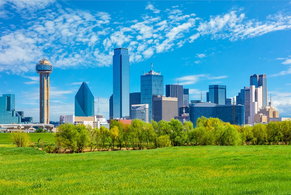 Dallas skyline cityscape with spring foliage,TX