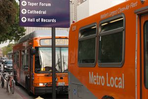 Metro Local buses in Downtown Los Angeles