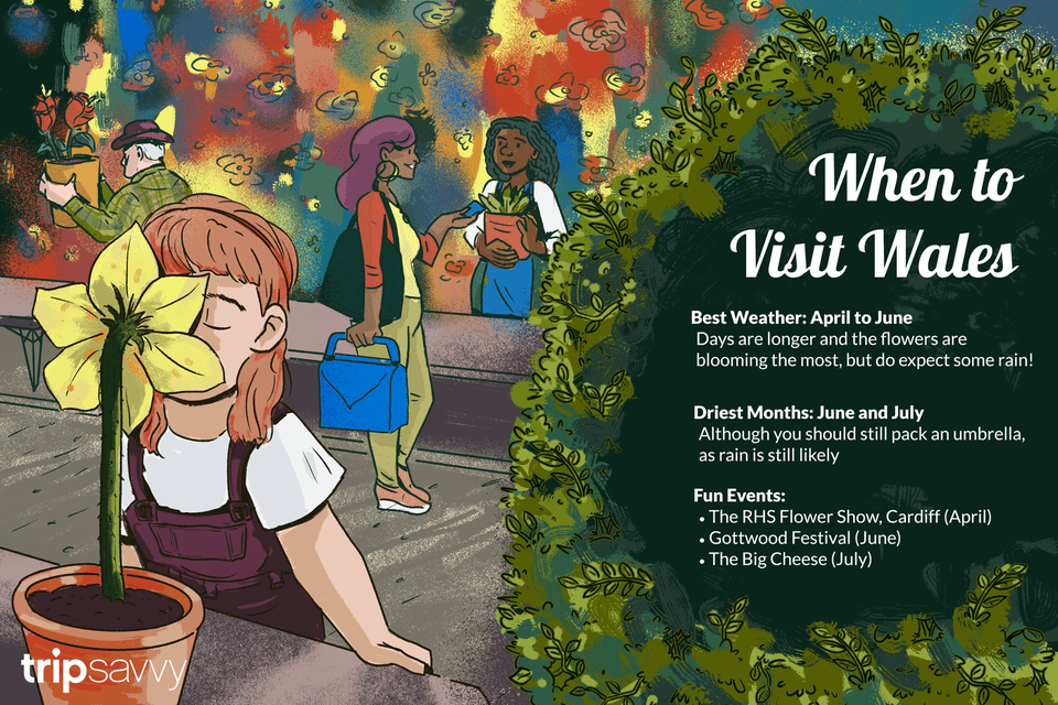 Illustration of a young girl smelling a flower at the RHS flower show with people making purchases in the background. There is text with information about the best time to visit Wales