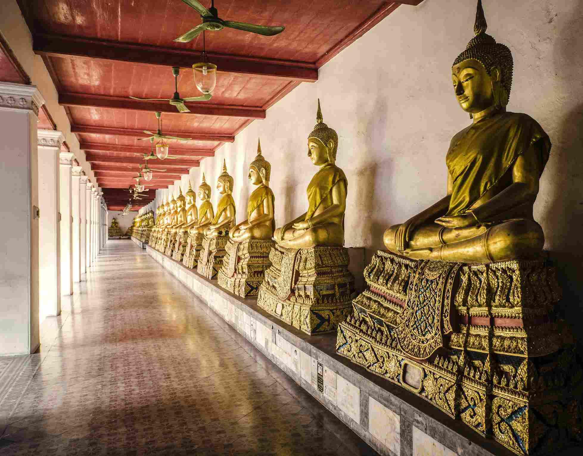 Buddha statues Wat Mahathat temple Bangkok, Thailand