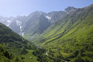 A stunning green valley in the Pyrenees Mountain Range in France
