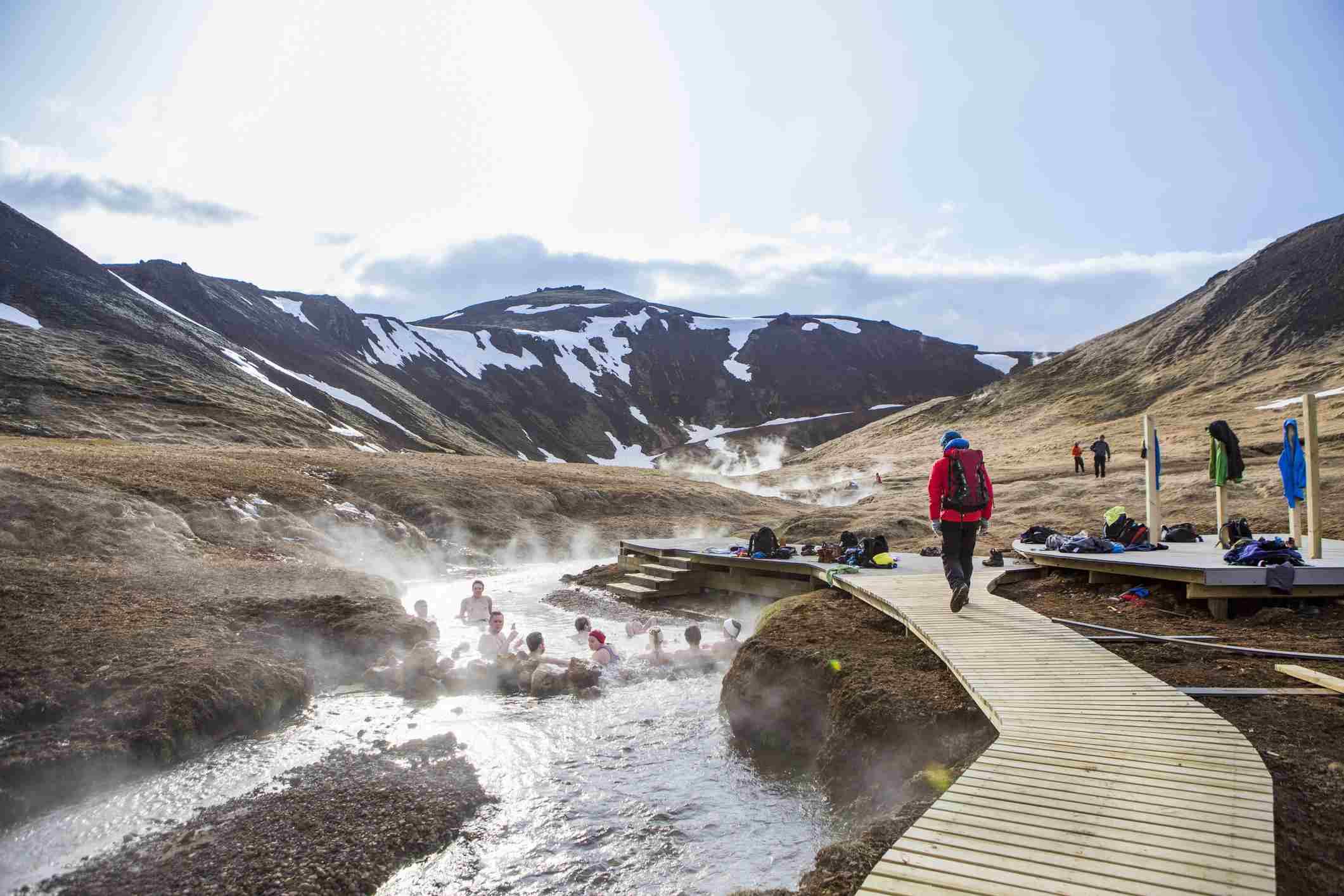 Bathing in thermal hot springs in Iceland