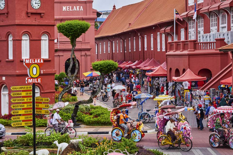Malasia, Malacca, plaza de la ciudad