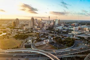 The whole city of San Antonio taken from a drone while its sunrise