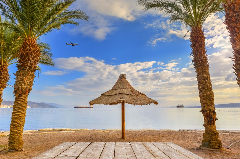 Morning at a public beach of Eilat